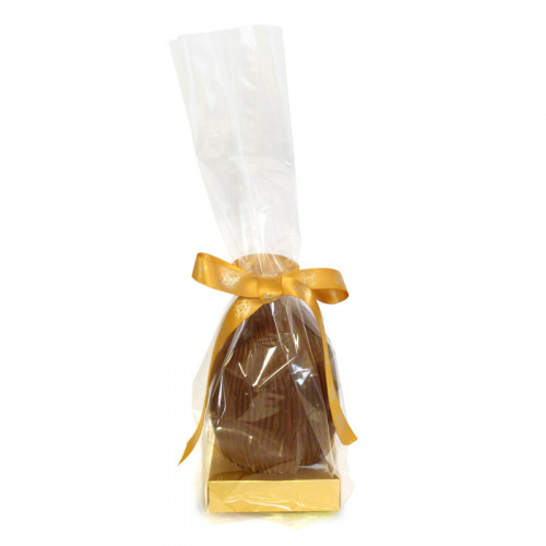 200g Milk Chocolate Egg with Matt Gold Plinth, Clear Bag with a Personalised Gold Ribbon