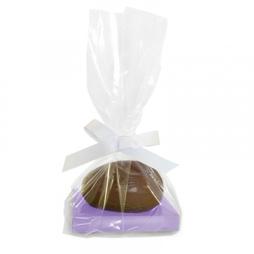 200g Milk Chocolate Egg with Lilac Plinth, Clear Bag with a White Ribbon