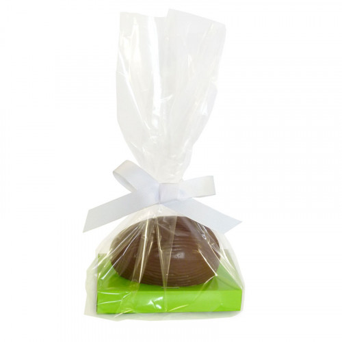 200g Milk Chocolate Egg with Easter Green Plinth, Clear Bag with a White Ribbon