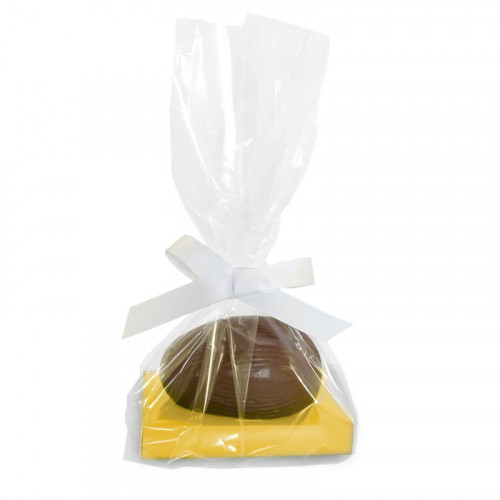 200g Milk Chocolate Egg with Sunshine Yellow Plinth, Clear Bag with a White Ribbon