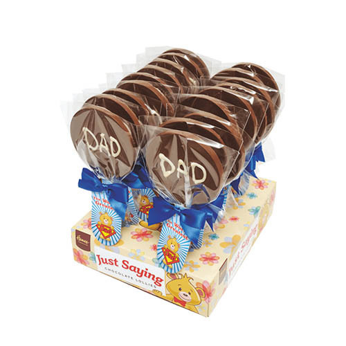 Sentiment Just Saying Chocolate Lollipops Finished with a Swing Tag & Twist Tie Bow - Worlds Greatest Dad x Outer of 18