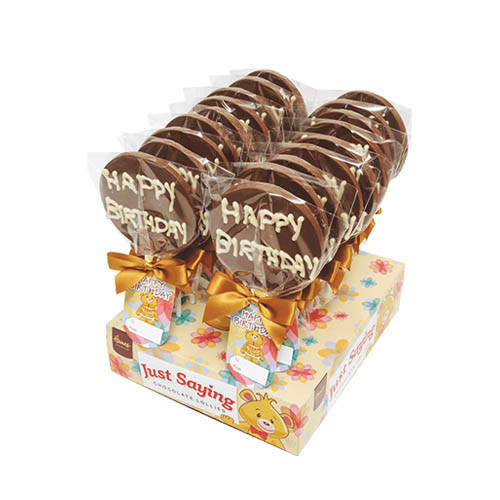 Sentiment Just Saying Chocolate Lollipops Finished with a Swing Tag & Twist Tie Bow - Happy Birthday x Outer of 18