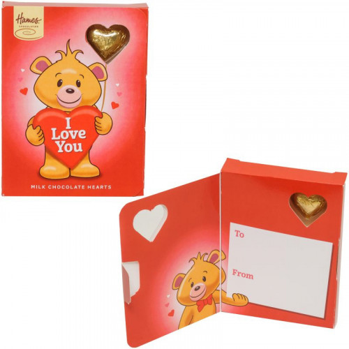 Sentiment Chocolate Heart Card - I Love You  x Outer of 14