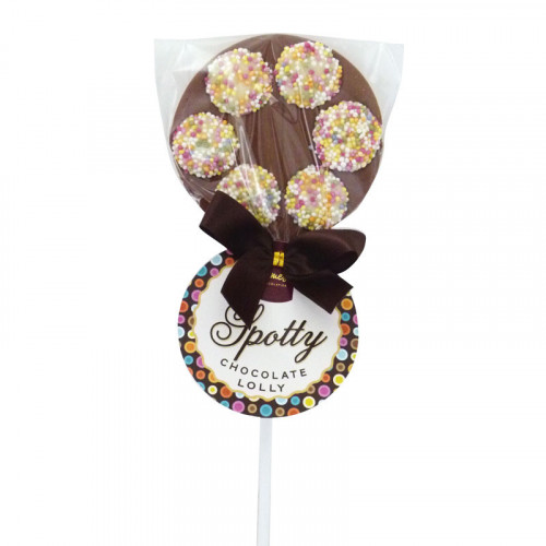 Hames - Luxury Spotty Lollies Milk Chocolate Lollipops Decorated with White Chocolate Jazzies  x Outer of 18