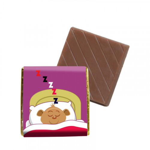 """Milk Chocolate Neapolitans Foiled in Gold Finished with a """"Night Time Ted"""" Scene Wrapper 500 Per Box"""