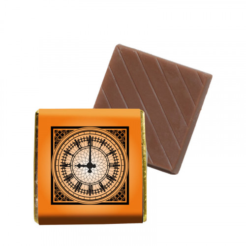 "Milk Orange Chocolate Neapolitan - Foiled in Gold Finished with a Orange Printed Wrapper & ""Clock"" Design 500 Per Box"