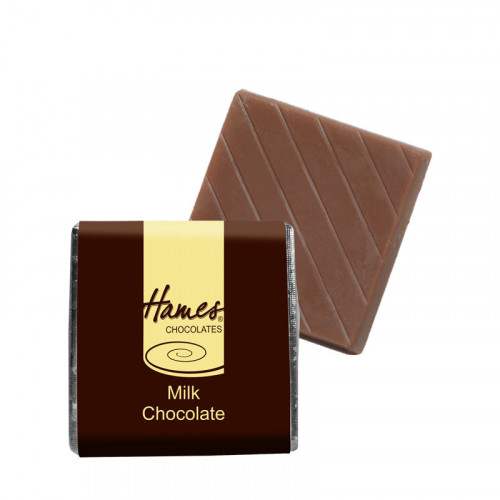 "Milk Chocolate Neapolitan - Foiled in Gold Finished with a Brown Wrapper with a Yellow Printed ""Hames"" 500 Per Box"