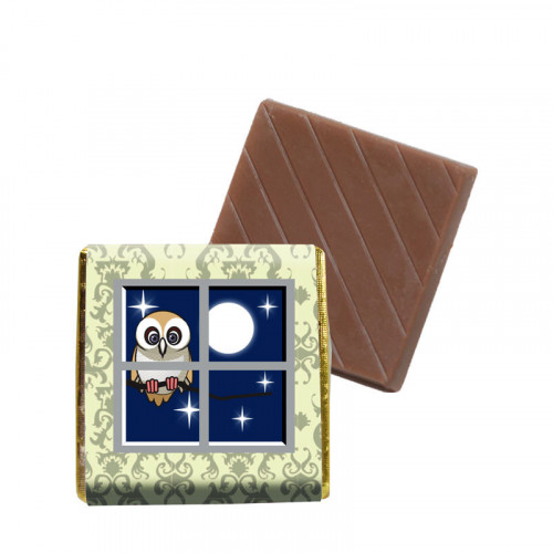"Milk Chocolate Neapolitans Foiled in Gold Finished with a ""Night Time Owl"" Scene Wrapper 500 Per Box"