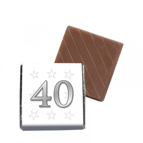 """Milk Chocolate Neapolitan - Foiled in Silver Finished With A White Wrapper with a Silver Printed """"40 & Silver Stars"""" 500 Per Box"""