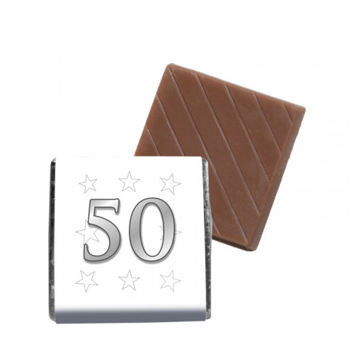 """Milk Chocolate Neapolitan - Foiled in Silver Finished With A White Wrapper with a Silver Printed """"50 & Silver Stars"""" 500 Per Box"""