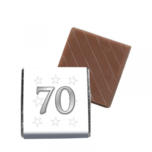 """Milk Chocolate Neapolitan - Foiled in Silver Finished With A White Wrapper with a Silver Printed """"70 & Silver Stars"""" 500 Per Box"""
