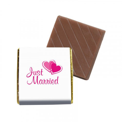 """Milk Chocolate Neapolitan - Foiled in Silver Finished With A White Wrapper with a Silver Printed """"Just Married & 2 Silver Hearts""""  400 Per Box"""