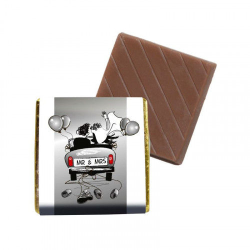 """Milk Chocolate Neapolitan - Foiled in Silver Finished With A White Wrapper & Silver Theme """"Mr & Mrs""""  400 Per Box"""
