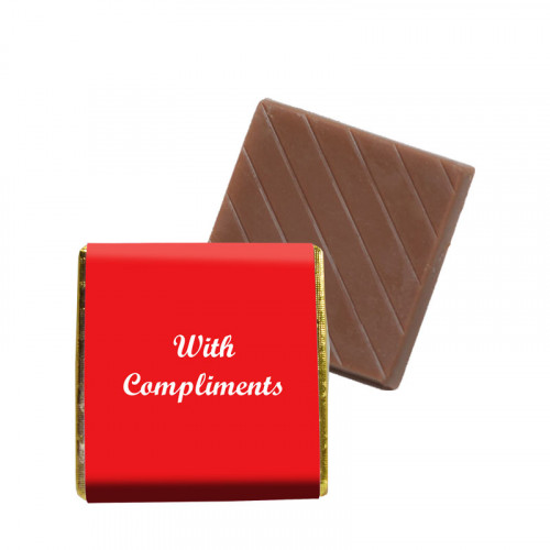 """Milk Chocolate Neapolitan - Foiled in Gold Finished With a Red Wrapper with White Printed """"With Compliments"""" 500 Per Box"""