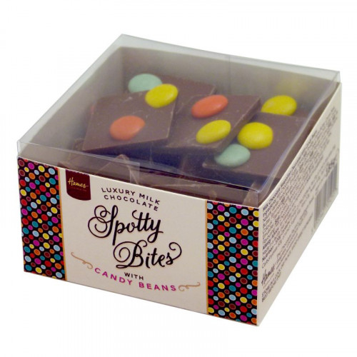 Hames - Spotty Bites Luxury Milk Chocolate Decorated with Candy Beans 185g x Outer of 12
