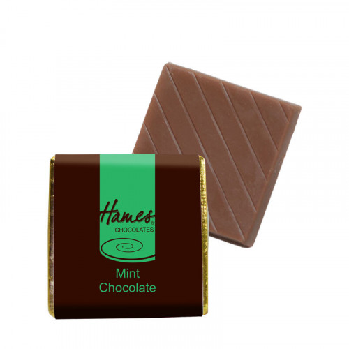 "Milk Mint Chocolate Neapolitan - Foiled in Gold Finished with a Brown Wrapper with a Green Printed ""Hames"" 500 Per Box"