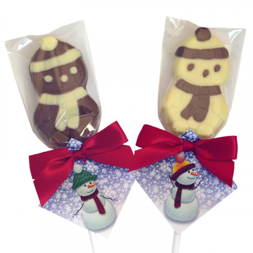 A Very Woolly Christmas - 12 Milk & 12 White Chocolate Snowmen Decorated Lollipops Finished with Xmas Knit Swing Tag & Red Twist Tie Bow