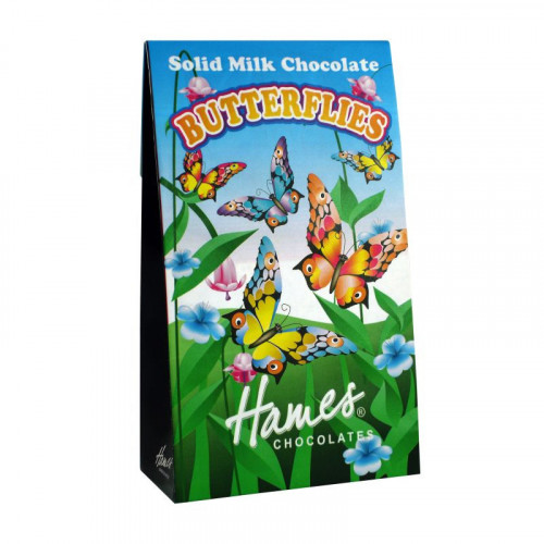 Hames - Solid Milk Chocolate Shaped Butterflies 100g  x Outer of 12