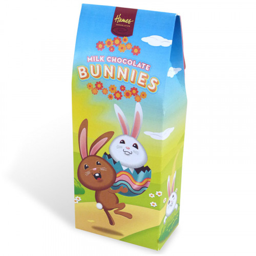 Hames - Happy Easter Solid Milk Chocolate Bunnies 95g x Outer of 12