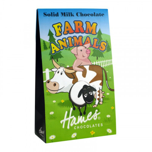 Hames - Solid Milk Chocolate Shaped Farm Animals 100g  x Outer of 12