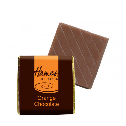 "Milk Orange Chocolate Neapolitan - Foiled in Gold Finished with a Brown Wrapper with a Orange Printed ""Hames"" 500 Per Box"