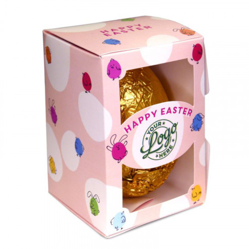 Personalised Egg Box with a 150g Milk Chocolate Egg Wrapped in Gold Foil Finished with a Peach Themed Happy Easter Bunnies & Chick Design