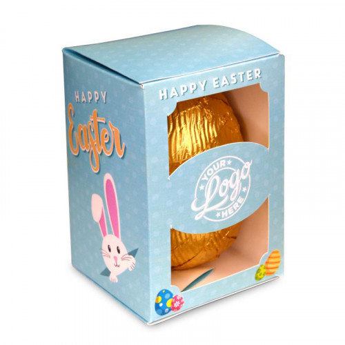 Personalised Egg Box with a 150g Milk Chocolate Egg Wrapped in Gold Foil Finished with a Blue Themed Happy Easter Peaking White Rabbit Design Wrapper