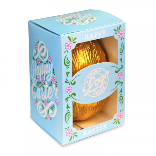 Personalised Egg Box with a 150g Milk Chocolate Egg Wrapped in Gold Foil Finished with a Beautiful Blue Themed Happy Easter Flower Design