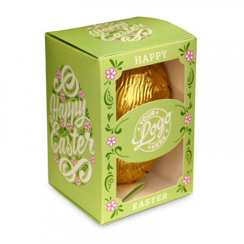 Personalised Egg Box with a 150g Milk Chocolate Egg Wrapped in Gold Foil Finished with a Beautiful Green Themed Happy Easter Flower Design