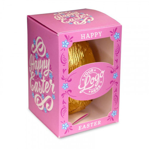 Personalised Egg Box with a 150g Milk Chocolate Egg Wrapped in Gold Foil Finished with a Beautiful Pink Themed Happy Easter Flower Design