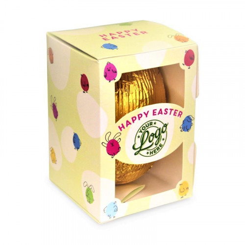 Personalised Egg Box with a 150g Milk Chocolate Egg Wrapped in Gold Foil Finished with a Green Themed Happy Easter Bunnies & Chick Design