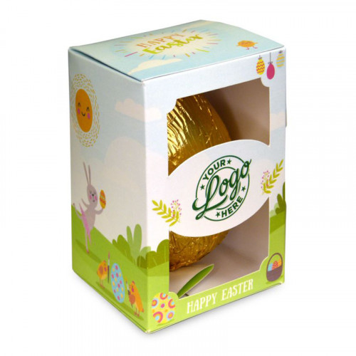 Personalised Egg Box with a 150g Milk Chocolate Egg Wrapped in Gold Foil Finished with a Happy Easter Bunnies & Sunshine Design