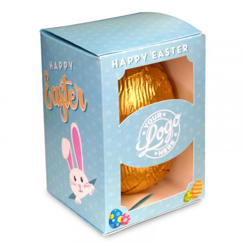 Personalised Egg Box with a 300g Milk Chocolate Egg Wrapped in Gold Foil Finished with a Blue Themed Happy Easter Peaking White Rabbit Design Wrapper