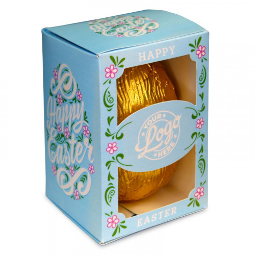 Personalised Egg Box with a 300g Milk Chocolate Egg Wrapped in Gold Foil Finished with a Beautiful Blue Themed Happy Easter Flower Design
