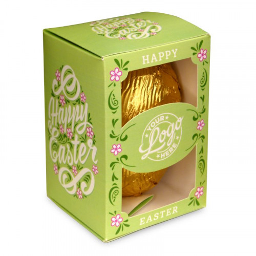 Personalised Egg Box with a 300g Milk Chocolate Egg Wrapped in Gold Foil Finished with a Beautiful Green Themed Happy Easter Flower Design