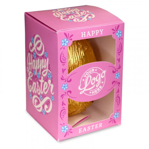 Personalised Egg Box with a 300g Milk Chocolate Egg Wrapped in Gold Foil Finished with a Beautiful Pink Themed Happy Easter Flower Design