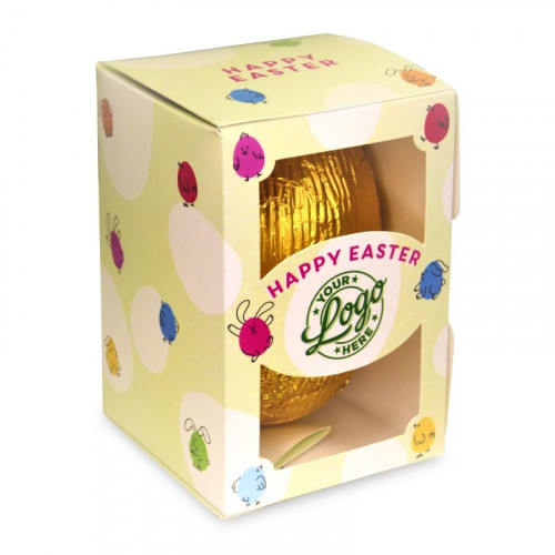 Personalised Egg Box with a 300g Milk Chocolate Egg Wrapped in Gold Foil Finished with a Green Themed Happy Easter Bunnies & Chick Design