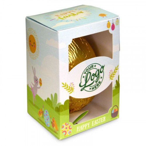 Personalised Egg Box with a 300g Milk Chocolate Egg Wrapped in Gold Foil Finished with a Happy Easter Bunnies & Sunshine Design