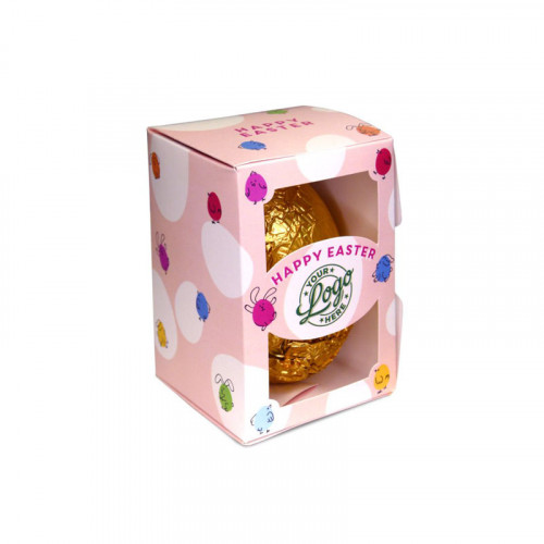 Personalised Egg Box with a 50g Milk Chocolate Egg Wrapped in Gold Foil Finished with a Peach Themed Happy Easter Bunnies & Chick Design