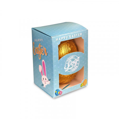 Personalised Egg Box with a 50g Milk Chocolate Egg Wrapped in Gold Foil Finished with a Blue Themed Happy Easter Peaking White Rabbit Design