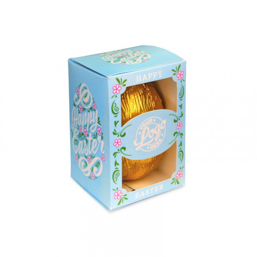 Personalised Egg Box with a 50g Milk Chocolate Egg Wrapped in Gold Foil Finished with a Beautiful Blue Themed Happy Easter Flower Design