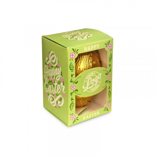 Personalised Egg Box with a 50g Milk Chocolate Egg Wrapped in Gold Foil Finished with a Beautiful Green Themed Happy Easter Flower Design