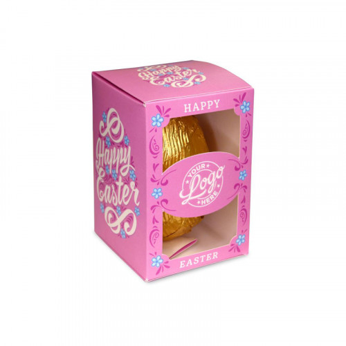 Personalised Egg Box with a 50g Milk Chocolate Egg Wrapped in Gold Foil Finished with a Beautiful Pink Themed Happy Easter Flower Design
