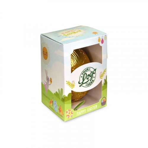 Personalised Egg Box with a 50g Milk Chocolate Egg Wrapped in Gold Foil Finished with a Happy Easter Bunnies & Sunshine Design