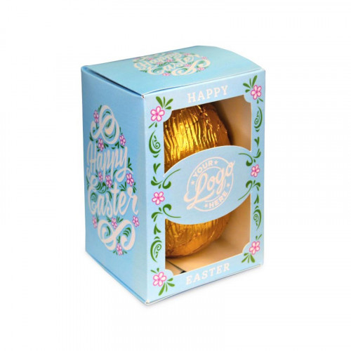 Personalised Egg Box with a 80g Milk Chocolate Egg Wrapped in Gold Foil Finished with a Beautiful Blue Themed Happy Easter Flower Design