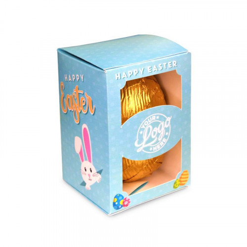Personalised Egg Box with a 80g Milk Chocolate Egg Wrapped in Gold Foil Finished with a Blue Themed Happy Easter Peaking White Rabbit Design