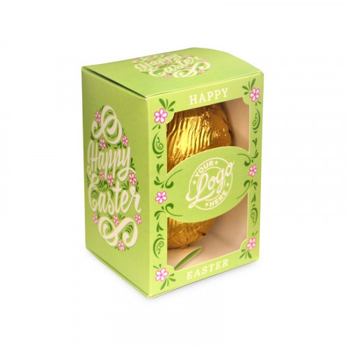 Personalised Egg Box with a 80g Milk Chocolate Egg Wrapped in Gold Foil Finished with a Beautiful Green Themed Happy Easter Flower Design