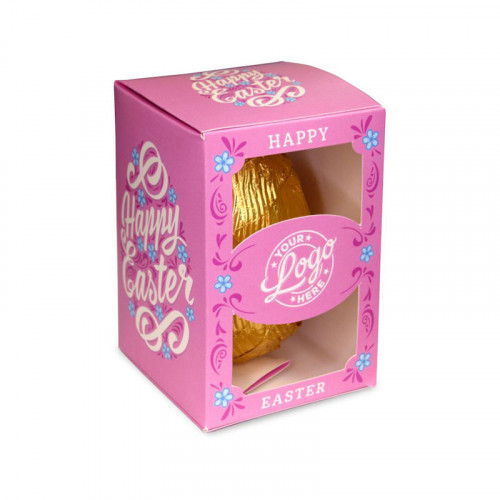 Personalised Egg Box with a 80g Milk Chocolate Egg Wrapped in Gold Foil Finished with a Beautiful Pink Themed Happy Easter Flower Design