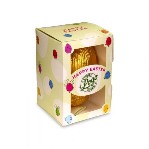 Personalised Egg Box with a 80g Milk Chocolate Egg Wrapped in Gold Foil Finished with a Green Themed Happy Easter Bunnies & Chick Design