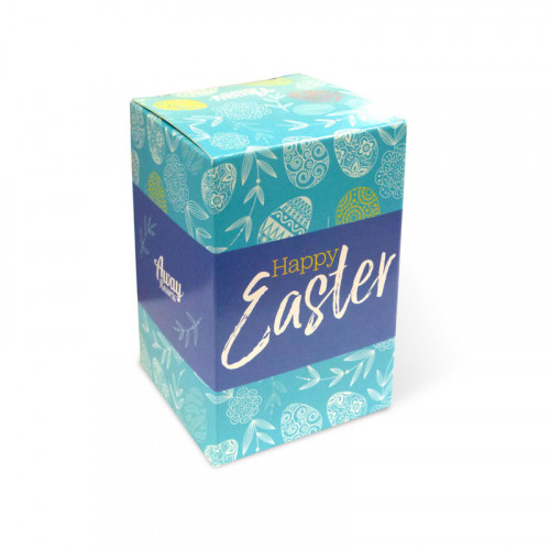 Promotional - 90g Milk Chocolate Egg Wrapped in Gold Foil Presented in a Full Colour Digital Printed Straight Sided Box